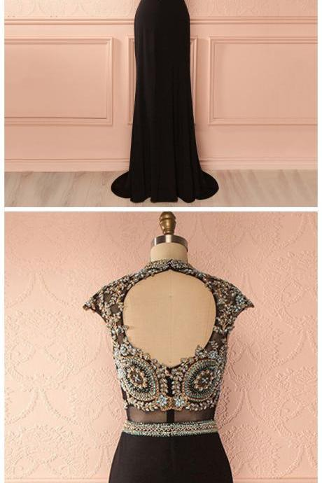 Jewel Neck Cap Sleeves Long Prom Dress, Lace Appliques Beaded Black Tulle Prom Dress, Open Back Sheath Chiffon Prom Dress