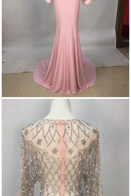 Sexy pink long sleeve beaded chiffon long prom dress evening dresses