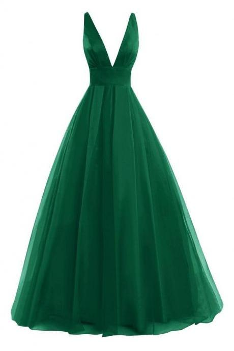 Plunge V Long A-Line Chiffon Evening Gown - Formal Gown, Prom Gown