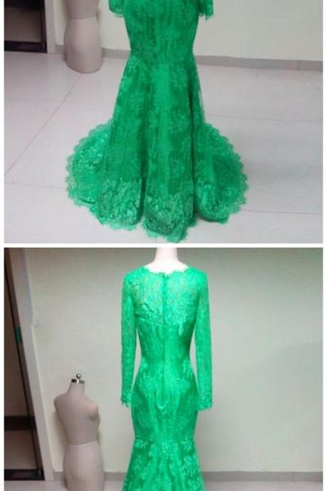 High Neck Elegant long sleeves green lace mermaid Prom Dress 2017, party Dress,evening dress 2017