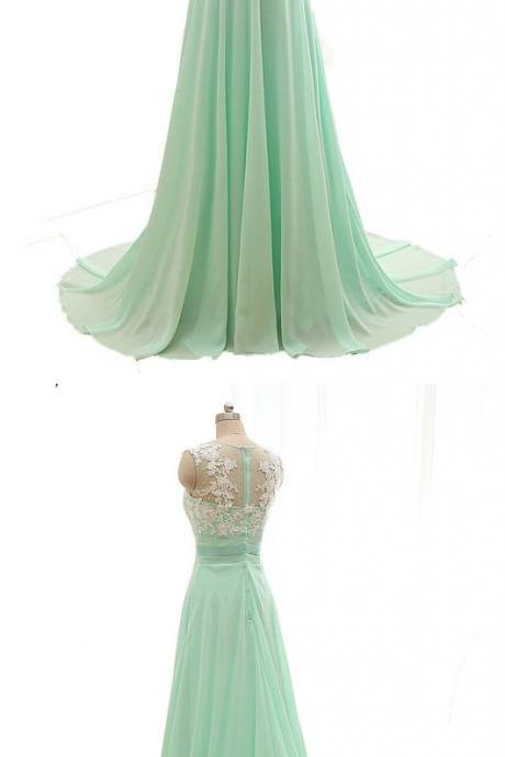 Custom Made Mint Green Sleeveless A-Line Chiffon Bridesmaid Dress with Lace Applique
