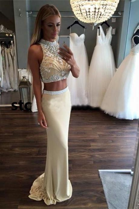 Sexy Two Pieces Prom Dress,Beaded Champagne Long Prom Dresses