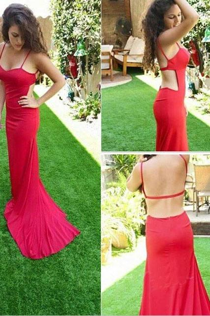Classy Sexy Backless Chiffon Prom Dress,Spaghetti Straps Prom Dresses,Mermaid Prom Dresses,Formal Gowns,Prom Dresses Long,Red Backless Prom Dress,Sexy Prom Dresses