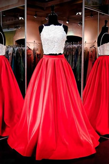 Pretty Prom Dresses,Two Piece Prom Dresses,Spaghetti Straps Prom Dresses,Satin Evening Dresses,Red Evening Gowns,Modest Prom Dresses