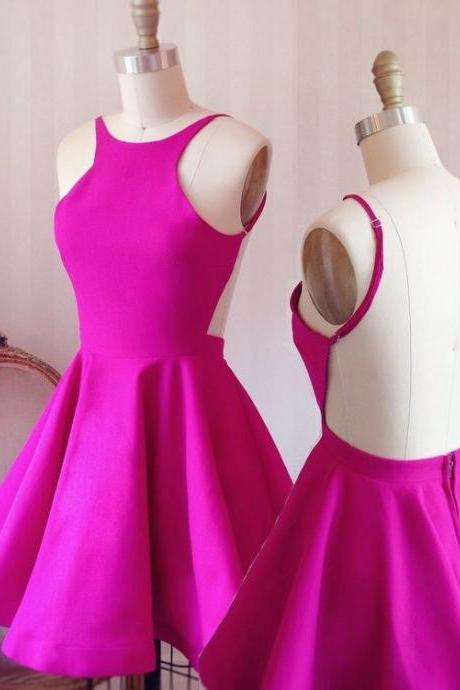 Simple Short Homecoming Dresses,A-line Homecoming Dresses,Hot Pink Homecoming Dresses,Backless Homecoming Dress