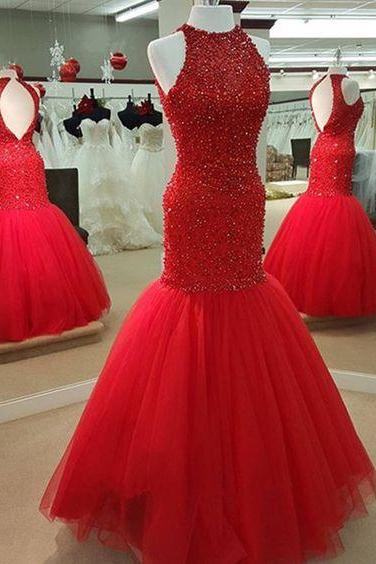 Pretty Red Prom Dresses,Sparkle Evening Dresses,Open Back Prom Dresses,Sleeveless Prom Gowns,Lace Prom Dresses,Beading Prom Dresses,Classy Prom Dresses