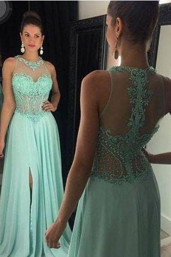 Mint Prom Dresses,Charming Prom Dresses,Cheap Prom Dresses,Floor-Length Prom Dresses,Evening Dresses,Split Side Prom Dresses,Chiffon Prom Dresses,Sleeveless Prom Dresses