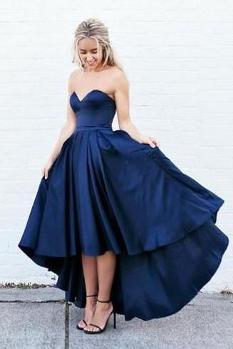 Custom Made Navy Blue Sweetheart Neckline High Low Bridesmaid Dress, Prom Dress