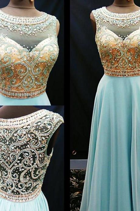 cheap prom dress, long blue Prom Dresses, 2017 Evening Gown, beaded prom dress,formal evening dress, formal evening gown