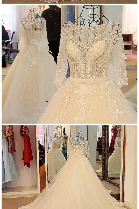 Sexy Long Sleeves Wedding Dress White Flash Diamond Long Train Bride Dress 2017 100% Real Picture