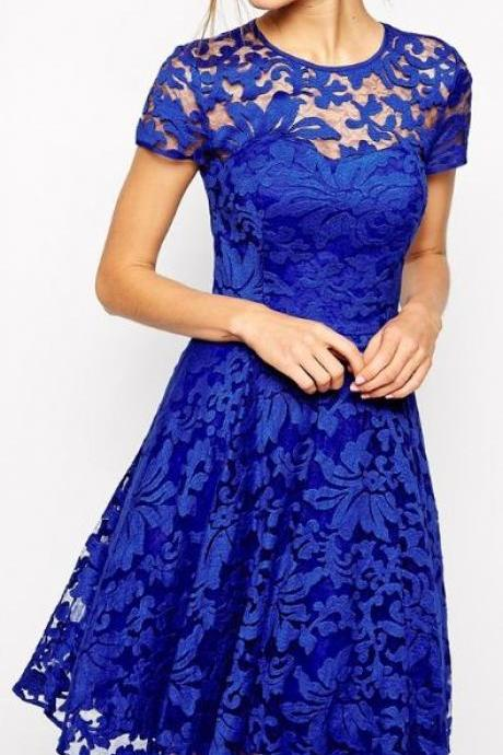 Royal Blue Homecoming Dress,Lace Homecoming Dress,Popular Homecoming Dress, Junior Homecoming Dress,Graduation Dress , Homecoming Dress ,Prom Dress for Teens