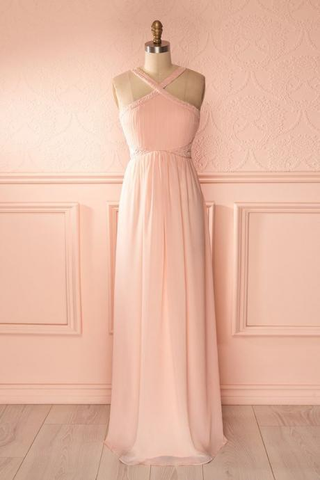 Blush Pink Prom Dresses,A-Line Prom Dress,Simple Prom Dress,Chiffon Prom Dress,Simple Evening Gowns,Cheap Party Dress,Elegant Prom Dresses,Formal Gowns For Teens