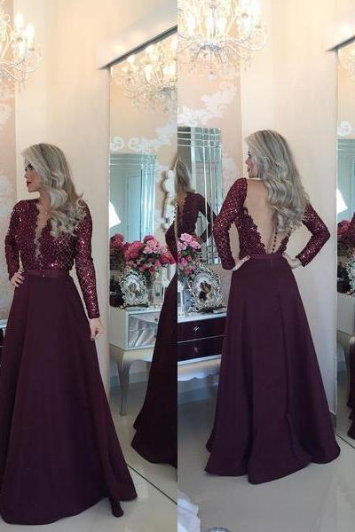 Burgundy Prom Dresses,Lace Prom Gown,Chiffon Prom Gowns,Simple Evening Dress,Lace Evening Dress,Wine Red Formal Dress,Backless Party Gowns