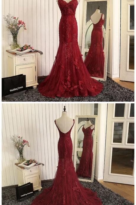 wine red evening dress,mermaid evening gowns,burgundy prom dress,lace prom dress 2017