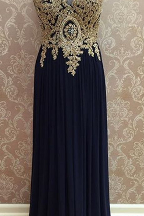 chiffon prom dress,open back prom dress,gold lace appliques prom dress,long evening dress,formal gowns,bridesmaid dress,prom dresses