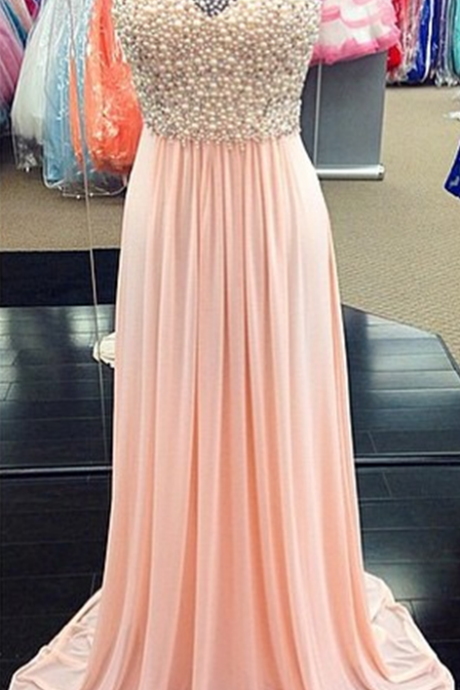 New Arrival Prom Dress,Modest Prom Dress,A Line Pearl Beaded Sheer Scoop Neckline Long Pink Chiffon Prom Dresses 2017 Women's Formal Dress