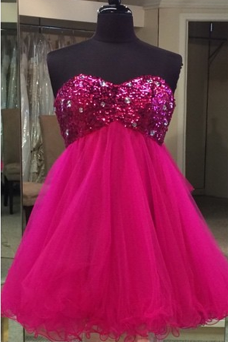 Homecoming Dresses,hot pink sequins beaded sweetheart prom dresses short homecoming dress 2017