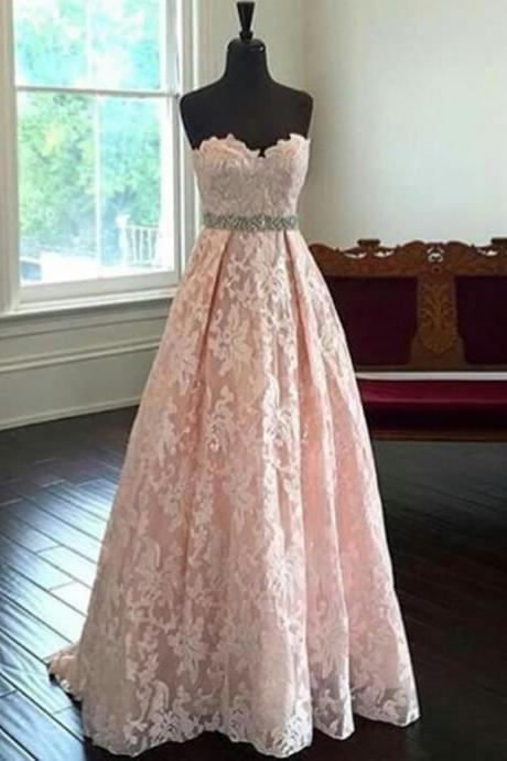 Charming Sweetheart Sweep Train Pearl Pink Lace Pro Dress with Beading Waist