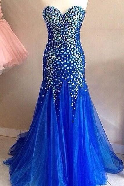 New Arrival Prom Dress,Modest Prom Dress,Royal Blue Mermaid Prom Dresses Long Sweetheart Evening Gowns Crystal Beaded 2017