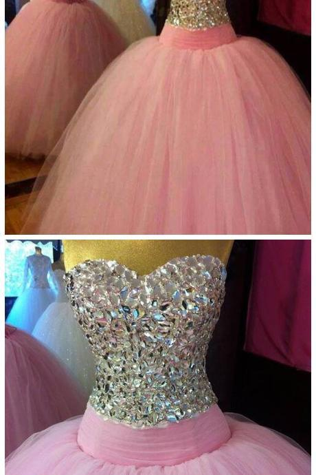 New Arrival Prom Dress,Modest Prom Dress,Crystal Beaded Sweetheart Pink Organza Ball Gowns Prom Dress 2017