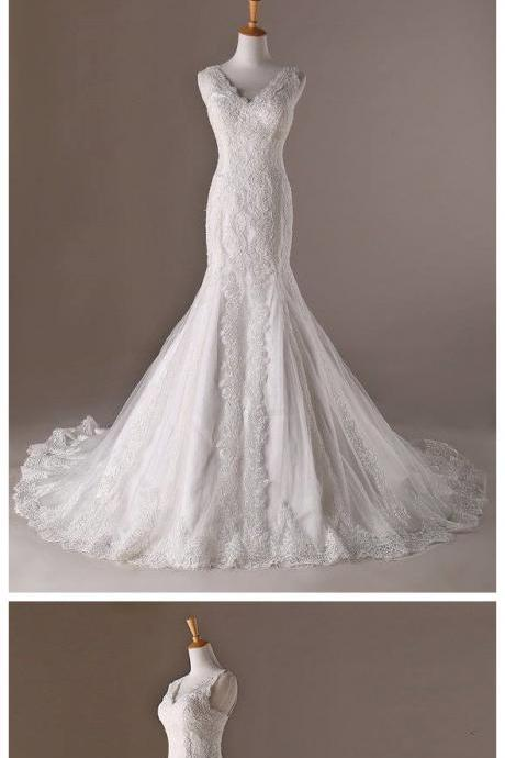 Wedding Dresses, Wedding Gown,V Neck White Lace Mermaid Wedding Dresses 2017 Vintage Bridal Gowns