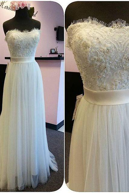 Romantic Tulle Lace White Wedding Dresses Sexy Sweetheart Backless, Sweep Train Cheap Long Bridal Dresses With Waist Sash 2017, Sexy Backless Long White Robe De Marriage, A Line Vintage White Wedding Gowns Plus Size