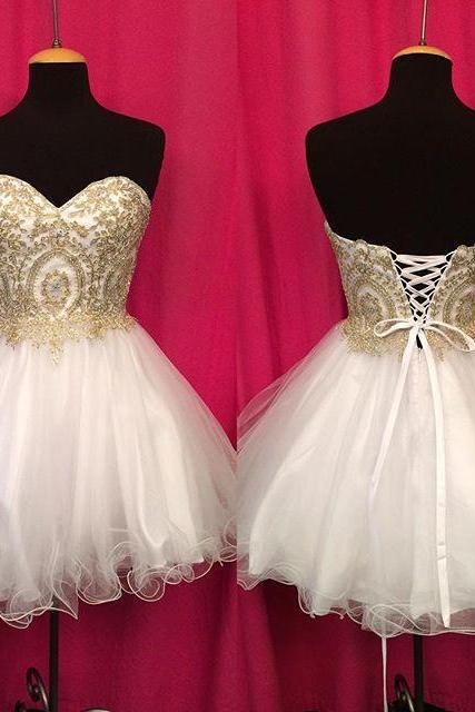 Homecoming Dresses,gold lace appliques sweetheart homecoming dress 2017