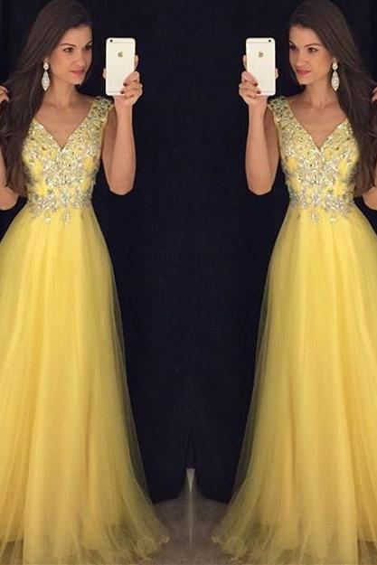 New Arrival Prom Dress,Modest Prom Dress,Glitter Beading V Neck Long Yellow Prom Dresses 2017 Women's Formal Evening Gowns