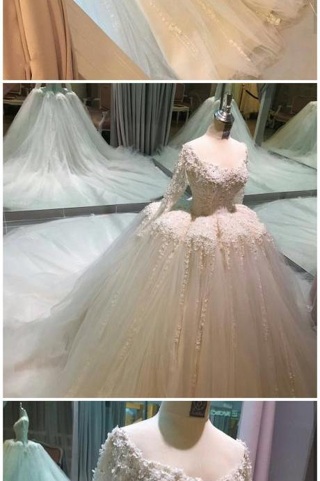 Wedding Dresses, Wedding Gown,ball gown wedding dresses with illusion back 2017 new design Princess Wedding Dresses
