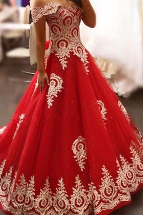 New Arrival Prom Dress,Modest Prom Dress,gold lace appliques prom dress,red evening gowns,elegant bride dress,prom dress 2017,wedding dress 2017