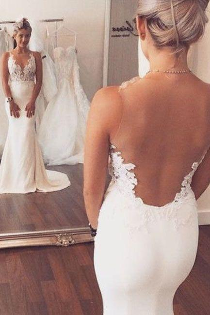 Sheer Straps Wedding Dress,Lace Prom Dress,Mermaid Prom Dress,Fashion Bridal Dress,Sexy Party Dress, 2017 New Evening Dress