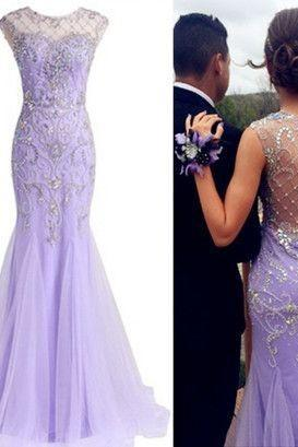 Lilac Prom Dress,Beaded Prom Dress,Mermaid Prom Dress,Fashion Prom Dress,Sexy Party Dress, New Style Evening Dress