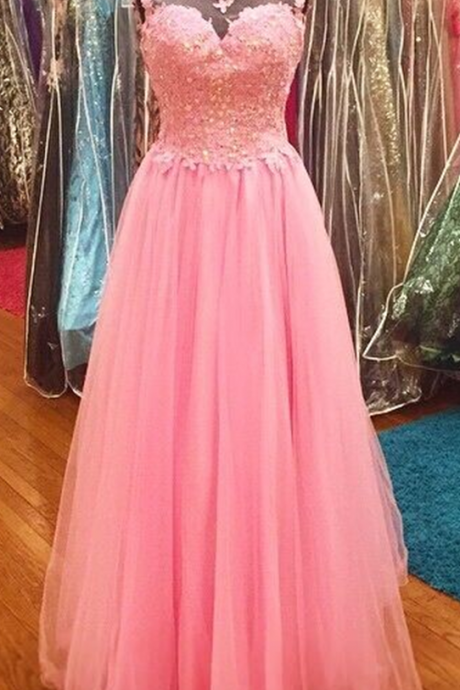 Pink Prom Dress,Lace Prom Dress,Illusion Prom Dress,Fashion Prom Dress,Sexy Party Dress, New Style Evening Dress