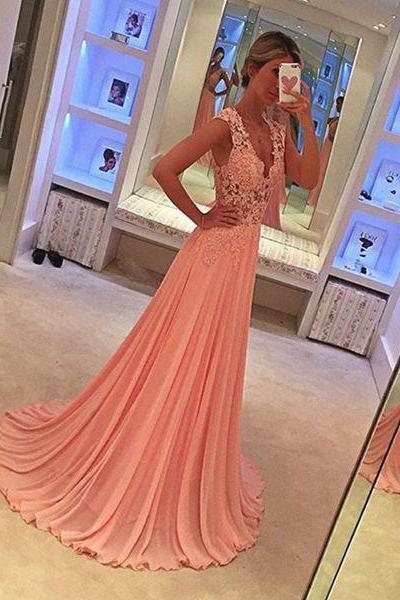 New Arrival Prom Dress,Pink prom dresses,elegant chiffon lace long prom dresses,ball gowns evening dresses