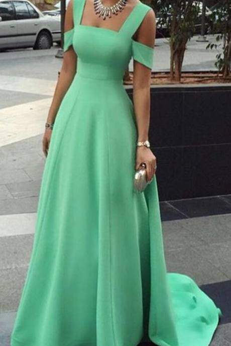 New Arrival Prom Dress, Simple green long prom dresses, 2017 evening dress,fashion dress for girls