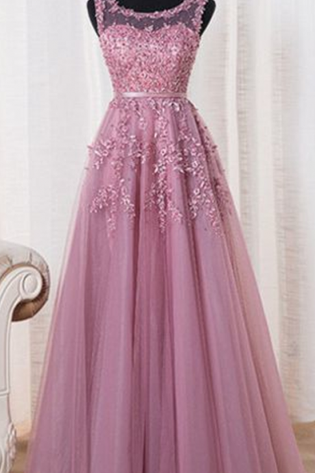 New Arrival Prom Dress,A-line pink tulle lace long prom dress,formal dress,party gown