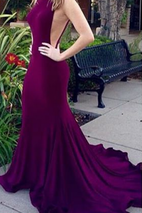 Purple Sleeveless Mermaid Chiffon Long Prom Dress, Evening Dress with Low V-Back and Train