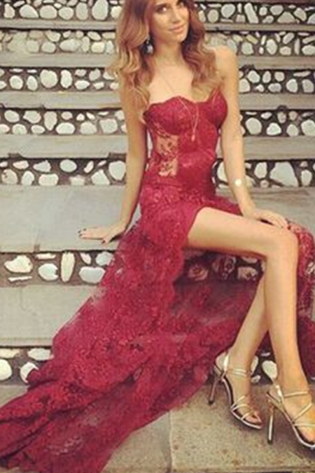 Wine Red Prom Dresses,Charming Evening Dress,Prom Gowns,Lace Prom Dresses,2017 New Prom Gown,Burgundy Evening Gown,Party Dresses