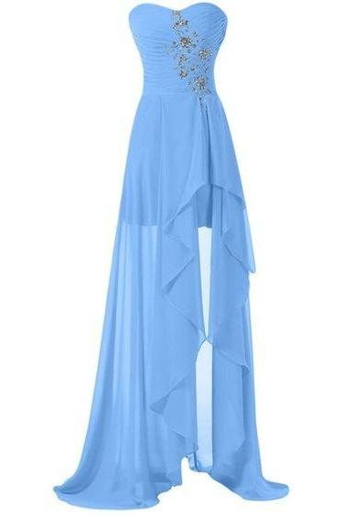 High Low Prom Dresses,Evening Gowns,Modest Formal Dresses, New Fashion Blue Evening Gown,High Low Evening Dress,Long Evening Gowns