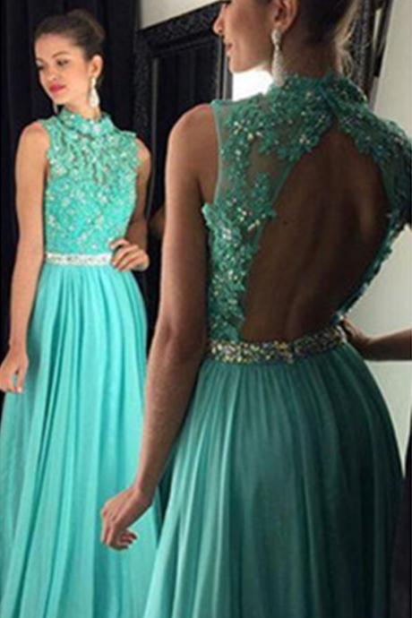 Blue Prom Dresses,Chiffon Prom Dress,backless Prom Gown,Beaded Prom Dresses,Lace Evening Gowns,New Evening Dresses
