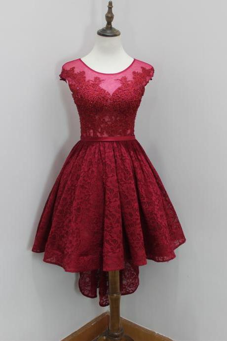 Burgundy High Low Prom Dresses With Illusion Neckline Elegant Lace Strapless Rhinestones Formal Gowns