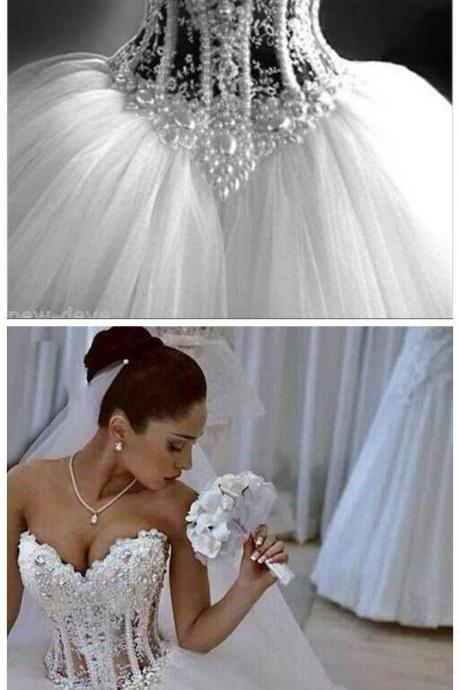 Gorgeous White Pearl Rhinestone Sparkly Ball Gown Wedding Dresses Customize