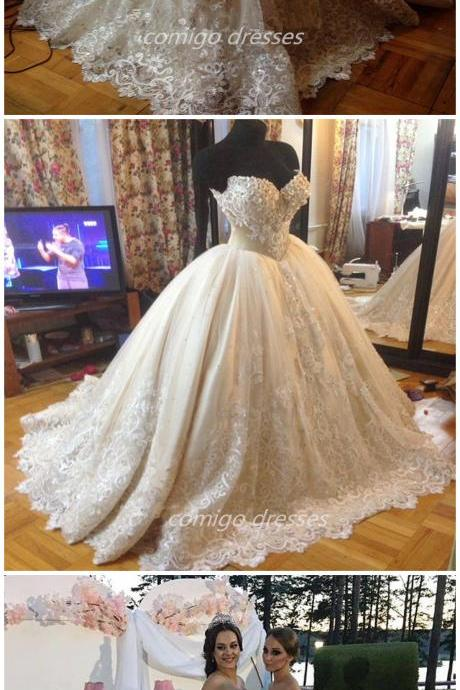 Appliques Beads Sweetheart Wedding Dress Puffy Ball Gown Custom White Ivory