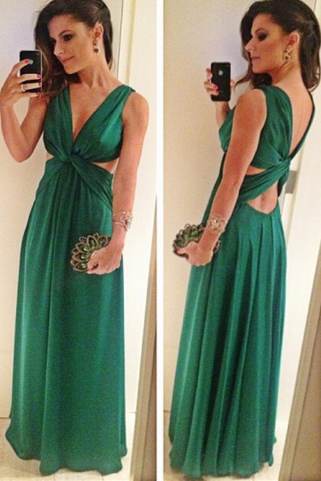 Green Sleeveless V-Neck Evening Gowns Cheap A-Line Floor Length Sexy Prom Dress