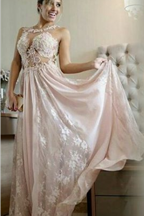 Lace Pink Long Formal Dresses 2017 Pearls A-line Chiffon Evening Gown