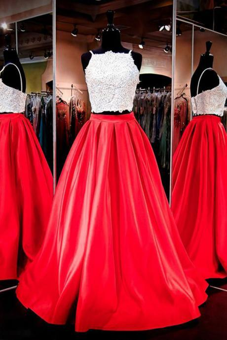 Gorgeous Two-piece Square Neck Red Floor-Length Prom Dress with Lace,Cheap Prom Dress,Evening Gowns for Teens