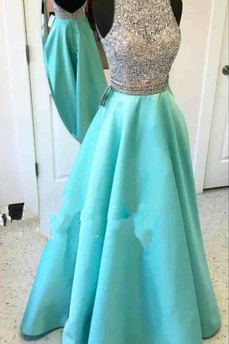 New Fashion A-line Backless Prom Dresses Prom Party Dress Formal Gowns with Crystals