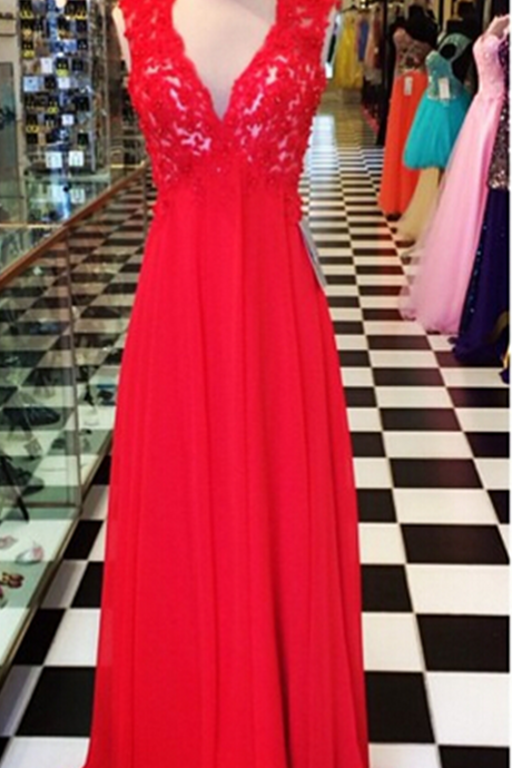 A Line Red Chiffon Prom Dresses V Neck Keyhole Back Sleeveless Evening Party Dresses Gowns Vestidos
