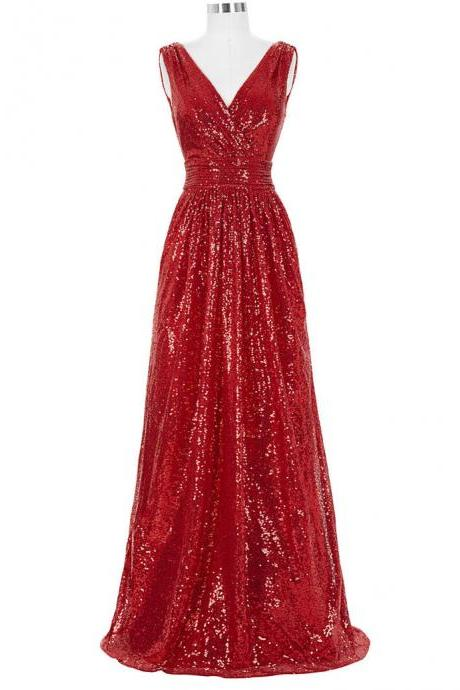 Long Bridesmaid Dresses Red Silver Pink Black Gold Sequins Wedding Party Dresses for Bridesmaids 2017 Prom Gown