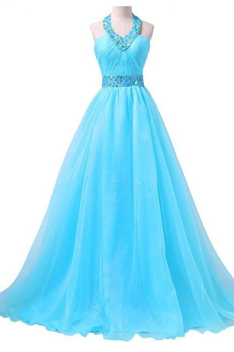 Halter V Neck Evening Dress 2017 Prom Dresses Sexy Design Elegant Long Blue Evening Ball Gown Puffy Designer Dinner Gowns